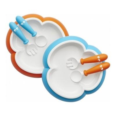 2 Platos, 2 Cucharas y 2 Tenedores Babybjorn: Naranja y Turquesa