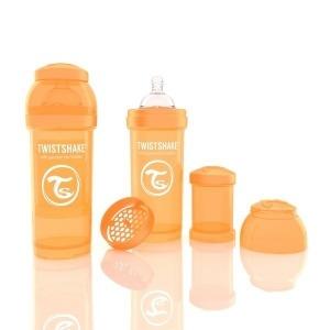 Biberón Twistshake Anticólico 260 ml. Naranja