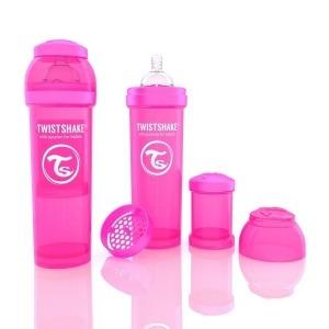 Biberón Twistshake Anticólico 330 ml. Rosa