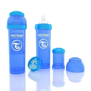 Biberón Twistshake Anticólico 330 ml. Azul