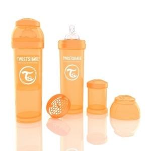 Biberón Twistshake Anticólico 330 ml. Naranja