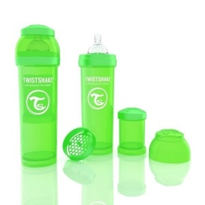 Biberón Twistshake Anticólico 330 ml. Verde
