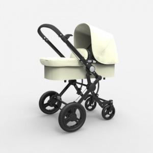 Cochecito Baby Ace 042 Chasis Negro + Base Blanco Roto + Set Lona Fresh