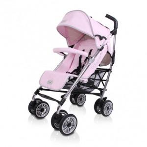 Silla de Paseo Baby Luxe Chasis Plata y Base Piel Rosa