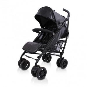 Silla de Paseo Baby Luxe Chasis Negro y Base Piel Negra