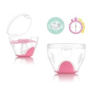 Portachupetes Esterilizador Kiokids 2 en 1 rosa