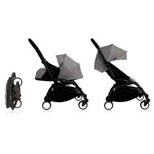 Cochecito Babyzen Yoyo 0+: Silla de Paseo YOYO+ color pack 6+ + Set recién nacido chasis negro y tapizado Grey