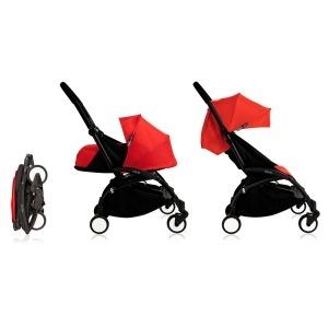 Cochecito Babyzen Yoyo 0+: Silla de Paseo YOYO+ color pack 6+ + Set recién nacido chasis negro y tapizado red