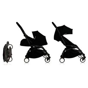 Cochecito Babyzen Yoyo 0+: Silla de Paseo YOYO+ color pack 6+ + Set recién nacido chasis negro y tapizado black