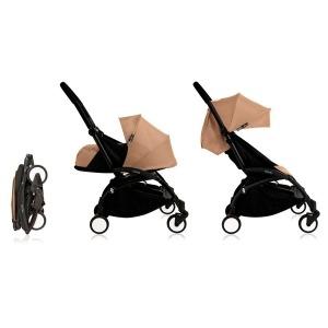 Cochecito Babyzen Yoyo 0+: Silla de Paseo YOYO+ color pack 6+ + Set recién nacido chasis negro y tapizado Taupe