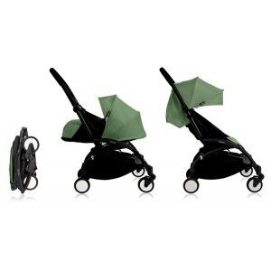 Cochecito Babyzen Yoyo 0+: Silla de Paseo YOYO+ color pack 6+ + Set recién nacido chasis negro y tapizado Peppermint
