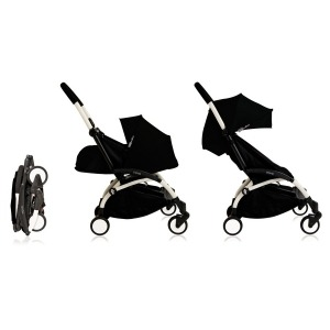 Cochecito Babyzen Yoyo 0+: Silla de Paseo YOYO+ color pack 6+ + Set recién nacido chasis blanco y tapizado black