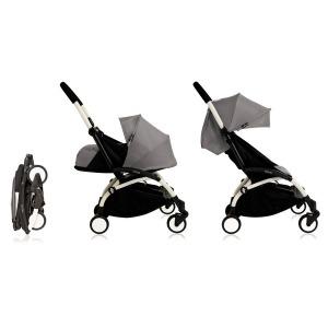Cochecito Babyzen Yoyo 0+: Silla de Paseo YOYO+ color pack 6+ + Set recién nacido chasis blanco y tapizado grey