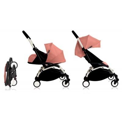 Cochecito Babyzen Yoyo 0+: Silla de Paseo YOYO+ color pack 6+ + Set recién nacido chasis blanco y tapizado ginger