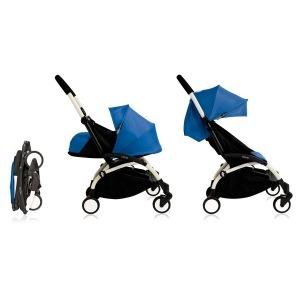 Cochecito Babyzen Yoyo 0+: Silla de Paseo YOYO+ color pack 6+ + Set recién nacido chasis blanco y tapizado navy blue