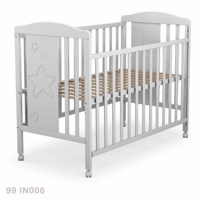 Cuna de 120 X 60 Ateliers T4 Ibérica barandillas planas Blanca Estrella