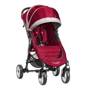 Cochecito Duo Baby Jogger City Mini 4 Rojo/Gris + Capazo Deluxe + Barra delantera