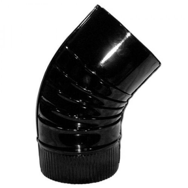 Codo Estufa Color Negro Vitrificado de  110 mm. 45°.