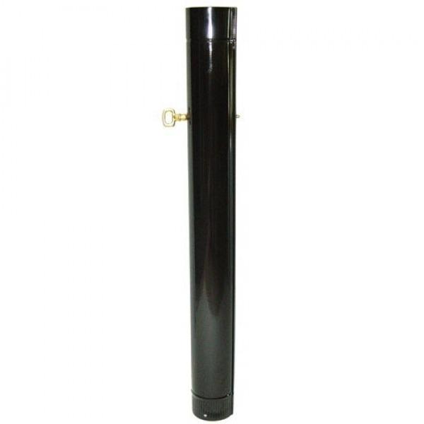 Tubo Estufa Negro Vitrificado de 120 mm. Con Llave de 25 cm.