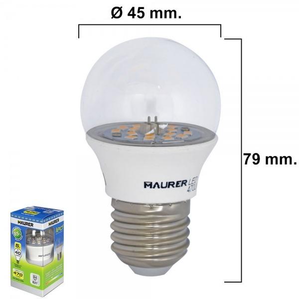 Bombilla Led Esferica Transparente Rosca E27 5 W.= 40 W. 470 lumenes Luz Blanca