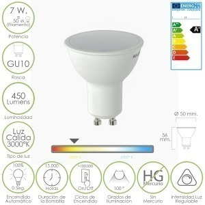 Bombilla Led Dicroica Gu10 7w Regulab.L520 C