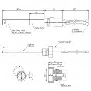 Resistencia de encendido de cuarzo 300W Ø11,5x4 x 90 mm con rosca 3/8 (Versión hermética)