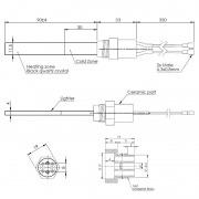Resistencia de encendido de cuarzo 400W Ø11,5x4 x 90 mm con rosca 3/8 (Versión horadada)