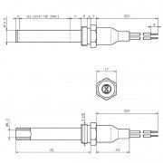 Resistencia de encendido cerámica 250W Ø10,5 x 81 mm con rosca 3/8 (Versión hermética)