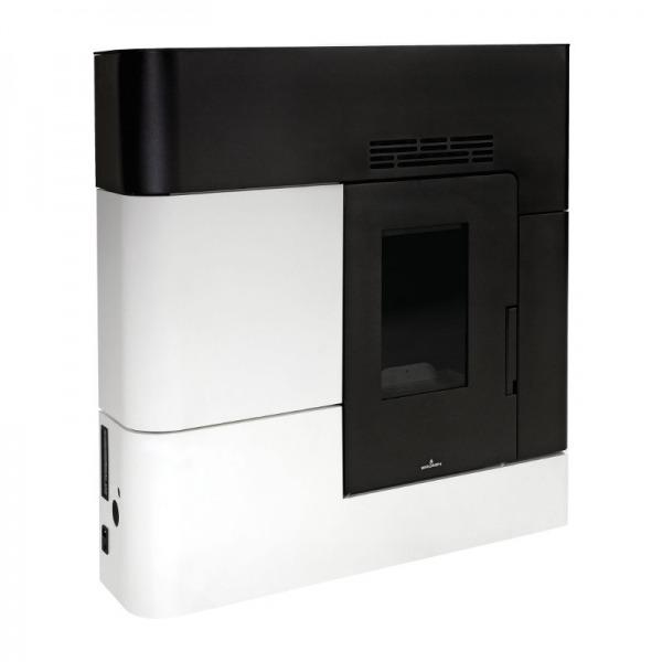 Estufa de pellets extraplana Bronpi CLARA 12 kW Negro y Blanco