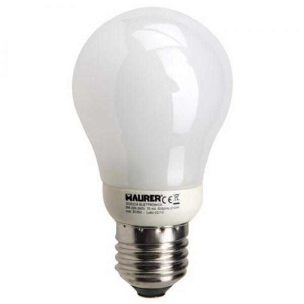 Bombilla Ahorro Standard Fluorescente E27  9 W. = 45 W. Luz Calida