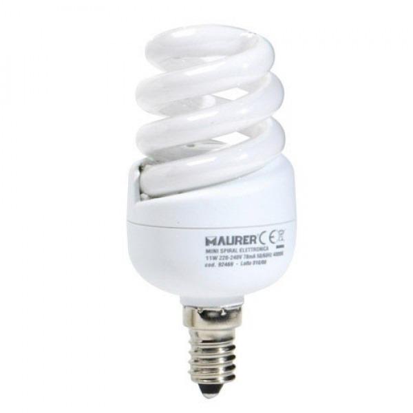 Bombilla Ahorro Miniespiral Fluorescente E14 11 W. = 55 W. Luz Blanca