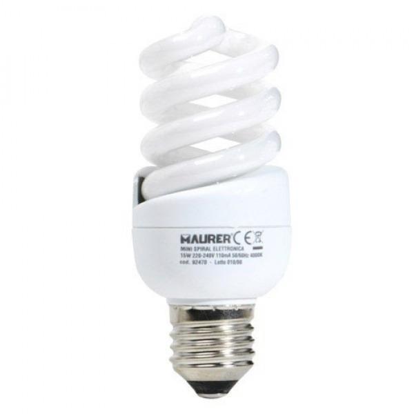 Bombilla Ahorro Miniespiral Fluorescente E27 15 W. = 75 W. Luz Blanca