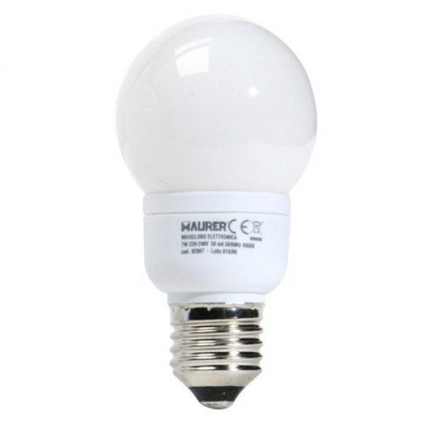 Bombilla Ahorro Globo Fluorescente E27  7 W. = 35 W. Luz Calida