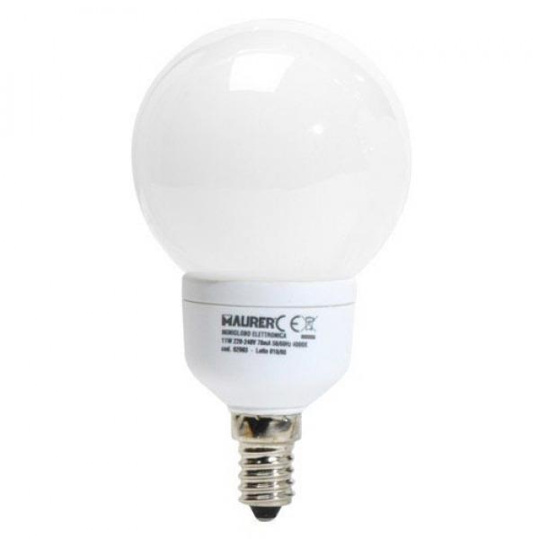 Bombilla Ahorro Globo Fluorescente E14 11 W. = 55 W. Luz Blanca