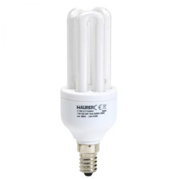 Bombilla Ahorro Fluorescente 3T / E14 11 W. = 50 W. Luz Blanca