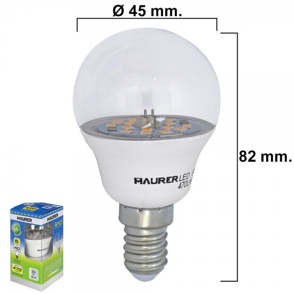 Bombilla Led Esferica Transparente Rosca E14 5 W.= 40 W. 470 lumenes Luz Blanca