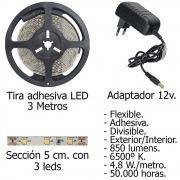 Tira LED Adhesiva con 180 leds 14,4 W 12 V. 6500 ºK Luz Blanca Ip 65 3 metros.