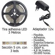 Tira LED Adhesiva con 180 leds 14,4 W 12 V. 3000 ºK Luz Calida Ip 65 3 metros.