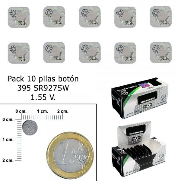 Pila Boton Oxido De Plata 395 / SR927SW (Caja 10 Pilas)