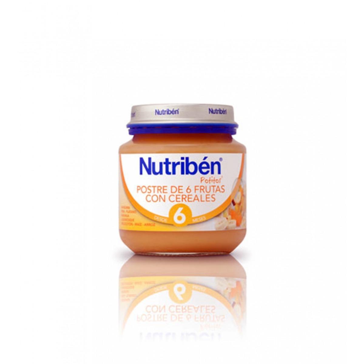 NUTRIBEN POSTRE DE 6 FRUTAS CON CEREALES 130 G.