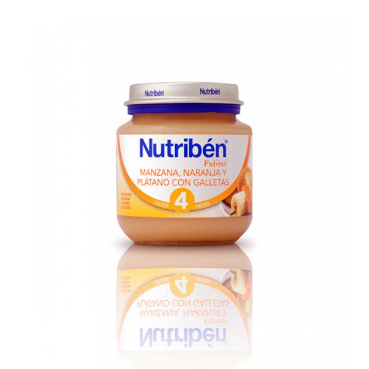 NUTRIBEN MANZANA, NARANJA Y PLTANO CON GALLETAS 130 G.