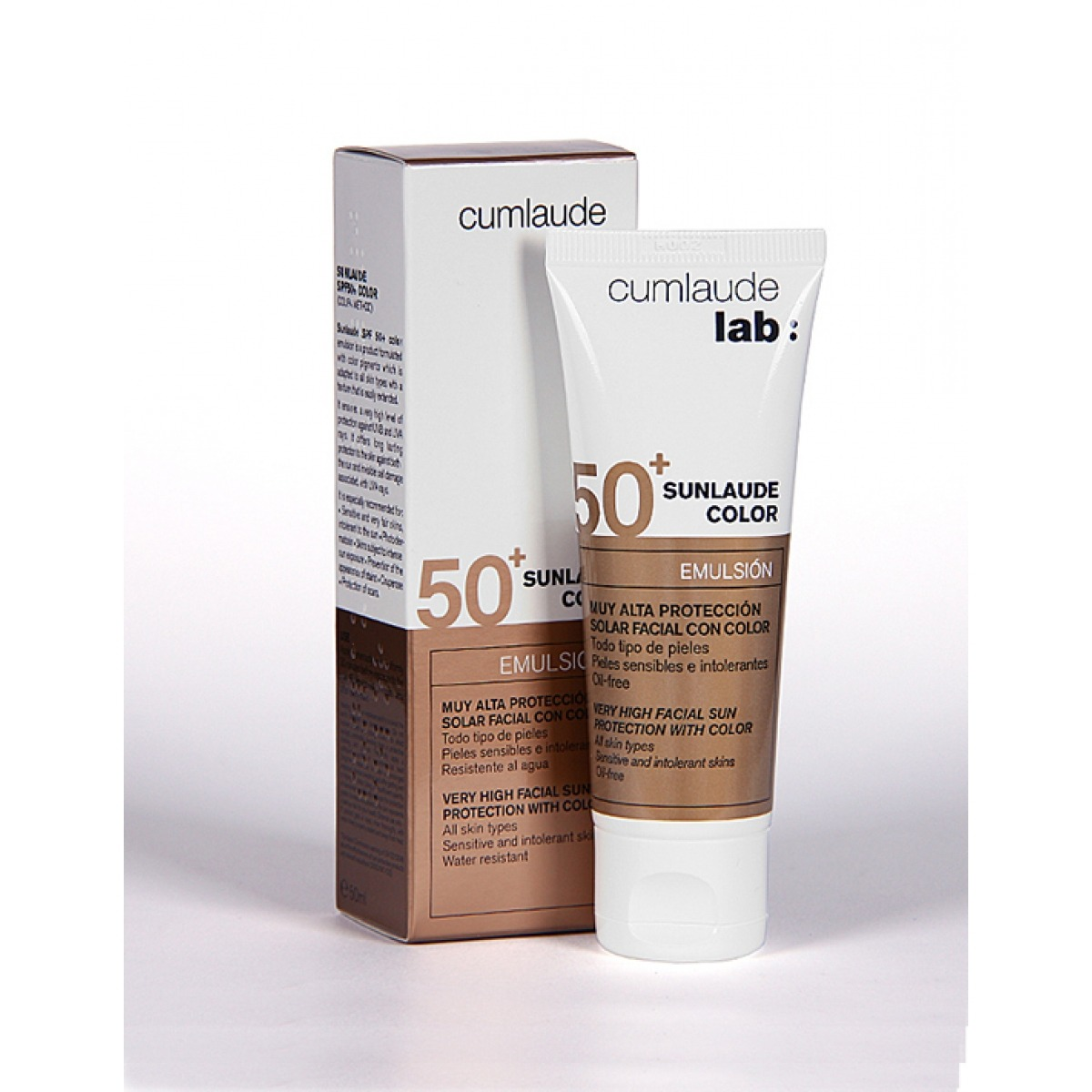 SUNLAUDE SPF 50 EMULSION FACIAL CON COLOR.