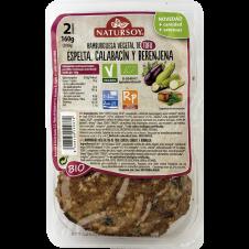 Hamburguesa vegetal de Tofu, Espelta, Calabacín y Berenjena 160gr Natursoy