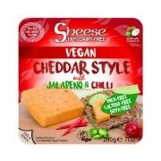 Queso cheddar con Jalapeños y Chilli 200gr Vegano Sheese