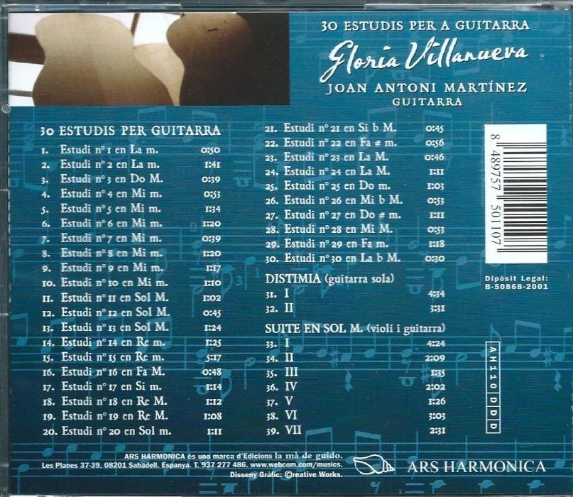 Gloria Villanueva 30 Estudfios Para Guitarra Back