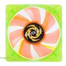 Revoltec RL025. Ventilador-LED UV, con marco verde y palas naranjas 80x80