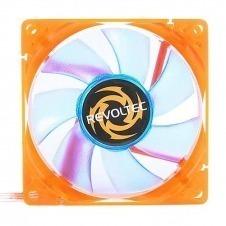 Revoltec RL024. Ventilador-LED UV, con marco naranja y palas azules 80x80