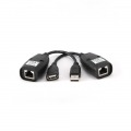 GEMBIRD CABLE CONVERSOR USB A RJ45 x2UND (ALARGO) PARA CABLE DE RED HASTA 30M NEGRO