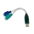 DIGITUS CABLE ADAPTADOR USB A x2 PS2 M/H 2 conectores mini-DIN 6F DA-70118USB