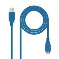 Nanocable CABLE USB 3.0, TIPO A/M-MICRO B/M, AZUL, 2.0 M